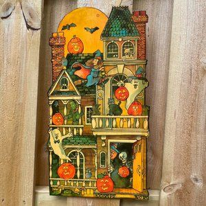 VTG haunted house Halloween wood sign